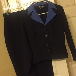 Flawless Pants Suit- Navy w Light Blue Pinstripes